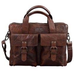 grosse ledertasche mit zwei aussentaschen braun