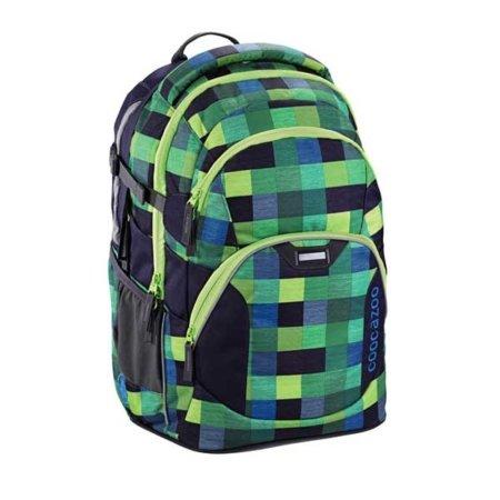 grüen blau karierter rucksack