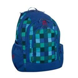 Blau und grün karierter Schulrucksack von Take it Easy