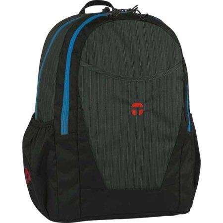 schwarzer Rucksack mit blauen Streifen