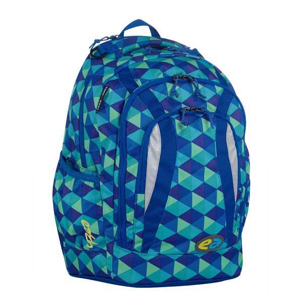 Blaues Karo Muster und Markenschriftzug auf der Seite