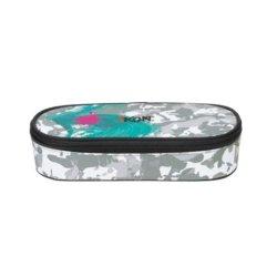 Etui-Box in grau, pink und blau mit Markenschriftzug