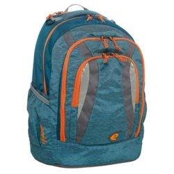 Rucksack blau mit orangen Reisversluessen