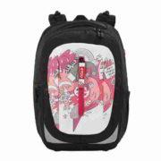 Motivklappe für Rucksack lila und weiß